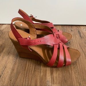 Franco Sarto Wedge Real Leather Sandals Red 10
